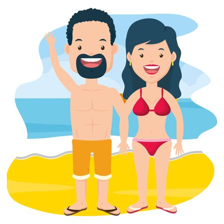 summer time couple with swimsuits beach vector illustration Stockfoto - 130185328