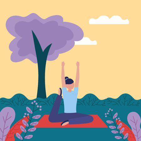 woman hand up flexing body yoga outdoor vector illustration  イラスト・ベクター素材