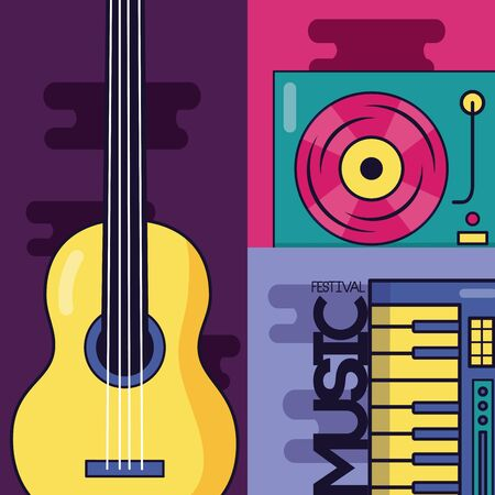 guitar synthesizer turntable record vinyl music festival vector illustration 向量圖像