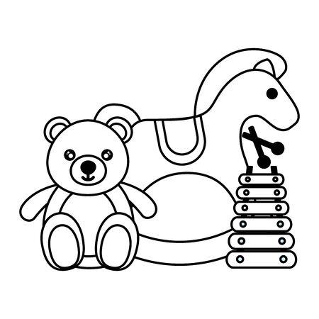 rocking horse bear xylophone kids toys vector illustration Ilustração