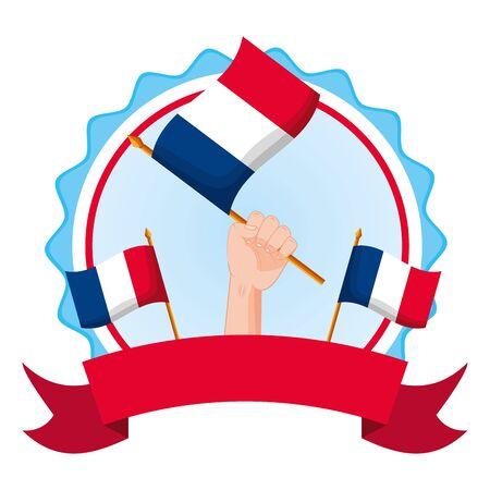 hands with flags happy bastille day flat design vector illustration