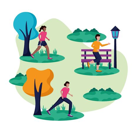 people running activity in the park grass tree bench vector illustration
