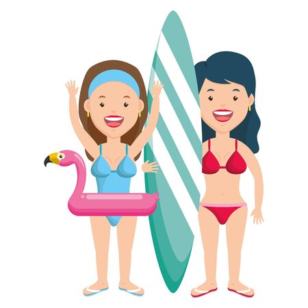 summer time two women with float and surfboard vector illustration