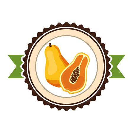 papaya tropical fruits sticker design vector illustration