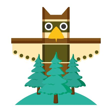 canadian totem forest trees nature culture vector illustration Ilustracja