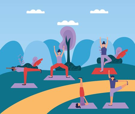 women yoga park outdoor flexing body vector illustration  イラスト・ベクター素材