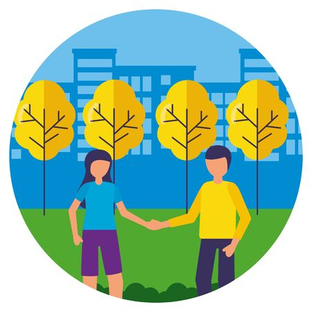standing man and woman casual clothes in the park vector illustration