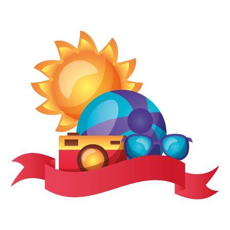 summer time holiday beachball sunglasses camera sun vector illustration Иллюстрация
