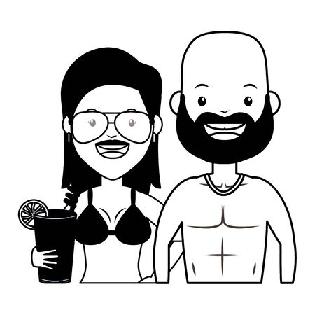 summer time couple couple in swimsuit with cocktail vector illustration