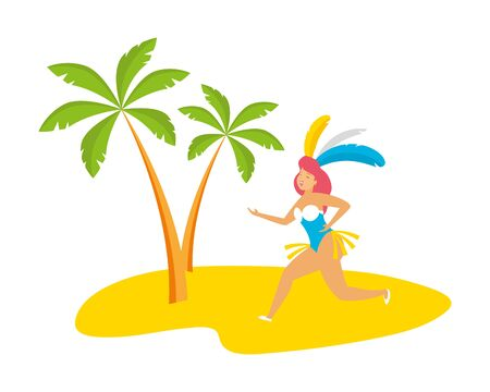 dancer with feathers beach palm brazil carnival celebration vector illustration