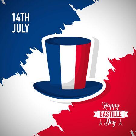 happy bastille day france flag grunge top hat vector illustration Foto de archivo - 130185393