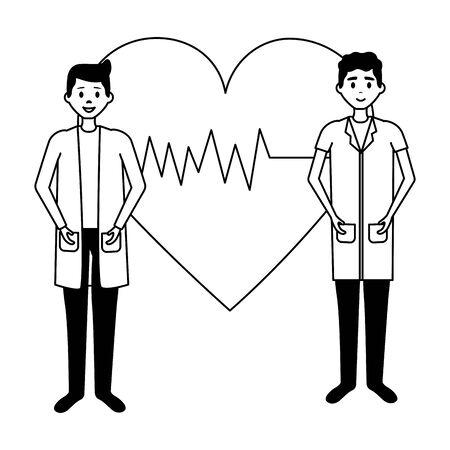 medical men team characters professional vector illustration Vektoros illusztráció