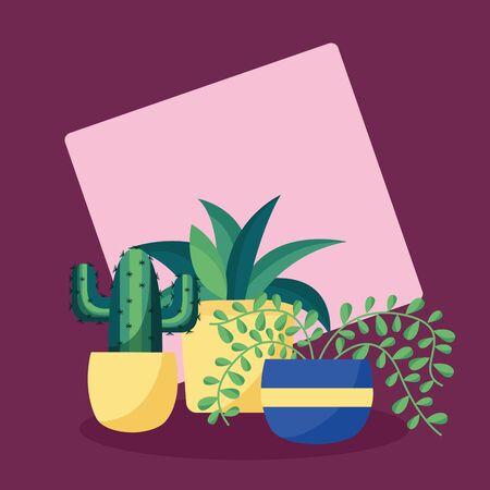 decorative plants in pots leaves interior background vector illustration Ilustração