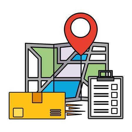 navigation map pin box clipboard fast delivery business vector illustration Ilustração