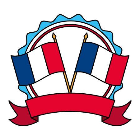 crossed flags of france happy bastille day flat design vector illustration Ilustração