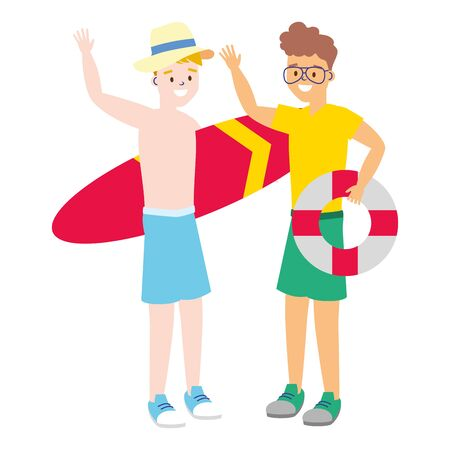 two men with surfboard lifebuoy summer time vector illustration