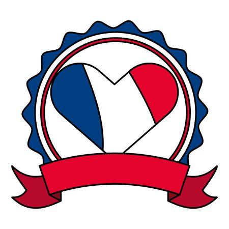 heart shaped french flag happy bastille day flat design vector illustration Иллюстрация