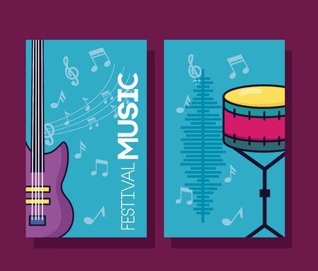 illustrazione di vettore del manifesto di musica del festival di percussioni della chitarra elettrica e del tamburo Vettoriali