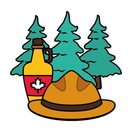 hat syrup tree pines happy canada day vector illustration Иллюстрация