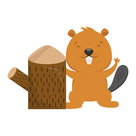 beaver and tree stump on white background vector illustration