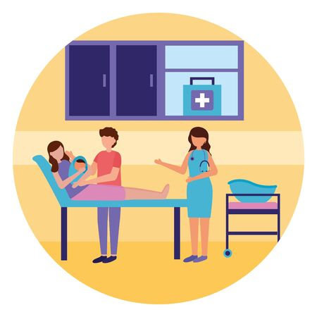 mom with baby in clinic bed father and doctor pregnancy and maternity scene flat vector illustration Vektorové ilustrace