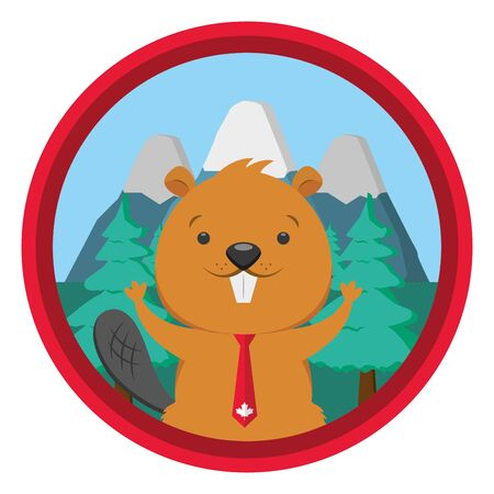 beaver mountains forest badge happy canada day vector illustration
