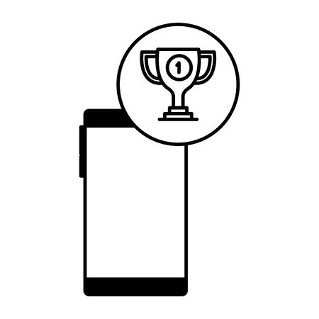 smartphone device with trophy cup vector illustration design Stock Illustratie