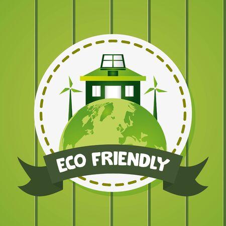world house solar panel windmills eco friendly vector illustration