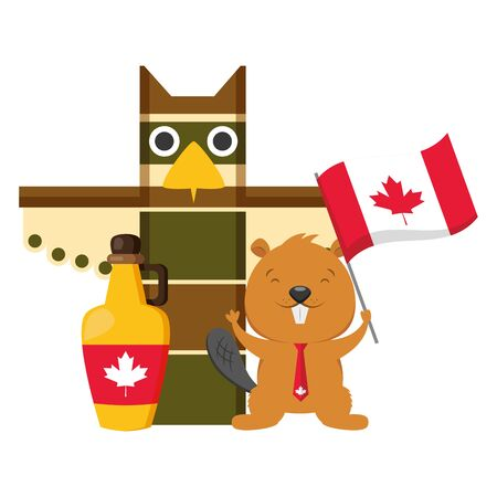 totem beaver syrup flag happy canada day vector illustration