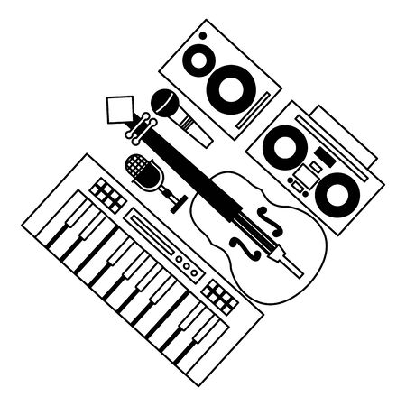 synthesizer fiddle boombox stereo speaker and microphone festival music vector illustration  イラスト・ベクター素材