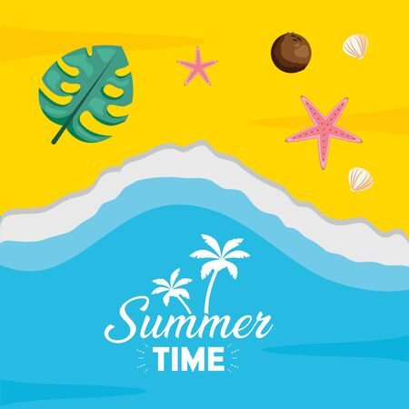 summer time holiday beach poster coconut leaf starfish top view Ilustracja