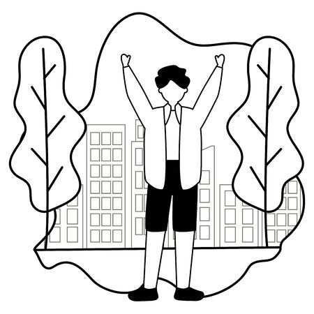 celebrating man character in the city park vector illustration white and black