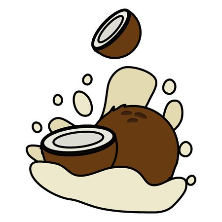 coconut juice splash tropical fruits vector illustration Çizim