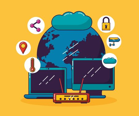 world laptop computer cloud computing router wifi free connection vector illustration