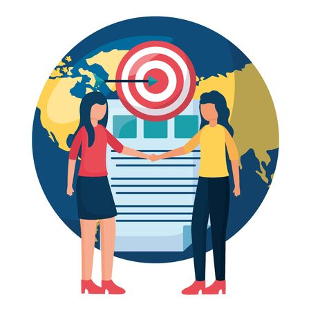beautiful young women with world planet and target vector illustration design