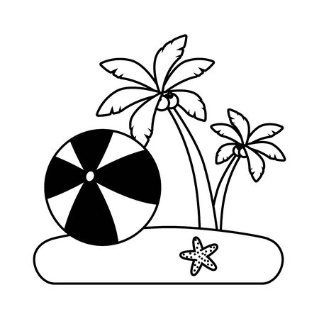 beach vacations rubber ball starfish palms  vector illustration