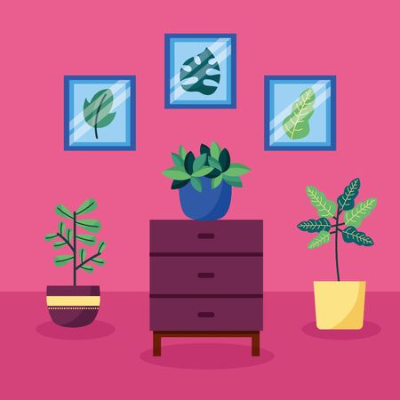 decorative house plants interior pictures vector illustration