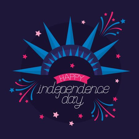 american happy independence day greeting card vector illustration