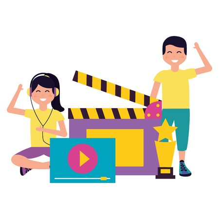 boy and girl award clapboard and screen vector illustration