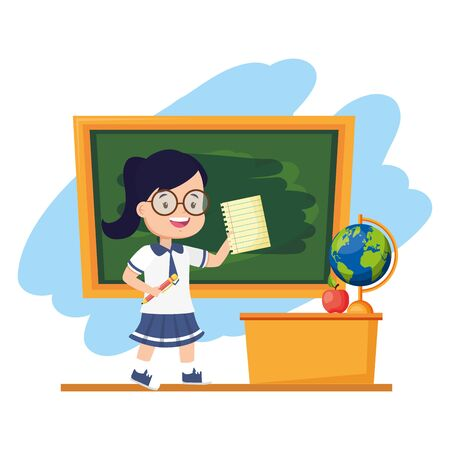 girl student with sheet and pencil chalkboard desk map apple back to school vector illustration Ilustrace