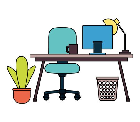 office desk laptop coffee cup lamp chair plant workplace vector illustration Illustration