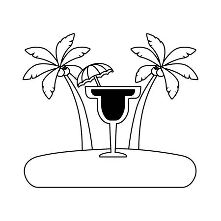 beach vacations cocktail with umbrella palms  vector illustration Çizim