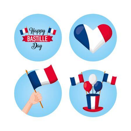 happy bastille day heart hat balloons flags icons vector illustration Иллюстрация