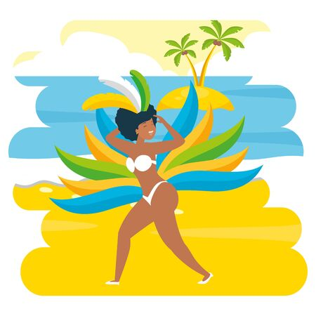 summer time vacation woman dancing on the beach vector illustration