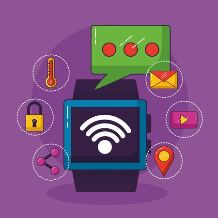 smart watch message wifi free connection vector illustration Stock Illustratie