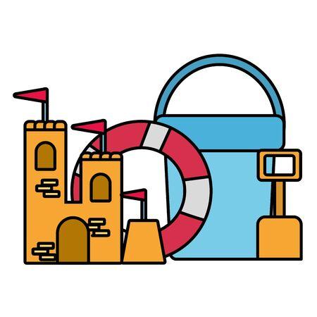 Sommerzeit Urlaub Rettungsring Sandburg Eimer Schaufel Vektor-Illustration