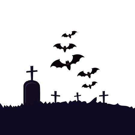 halloween tomb of cemetery with bats flying vector illustration design