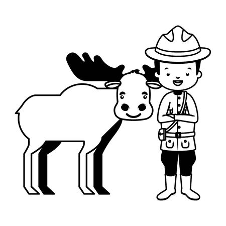 canadian police mounted and moose happy canada day vector illustration