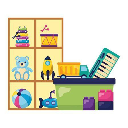 kids toys shelf bucket bear rocket drum submarine truck blocks vector illustration