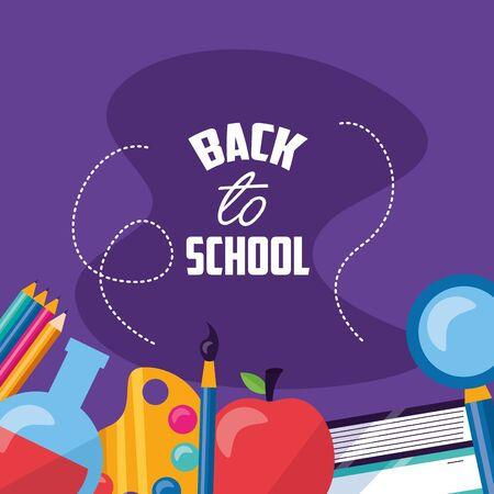 back to school supplies apple books vector illustration
